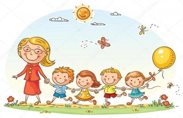 depositphotos 64700271 stock illustration cartoon kids and their teacher